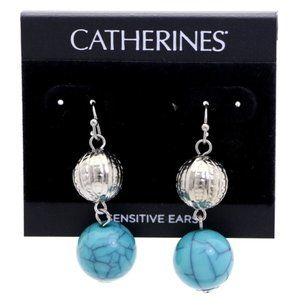 3/$20 Catherines blue and silver dangle earrings